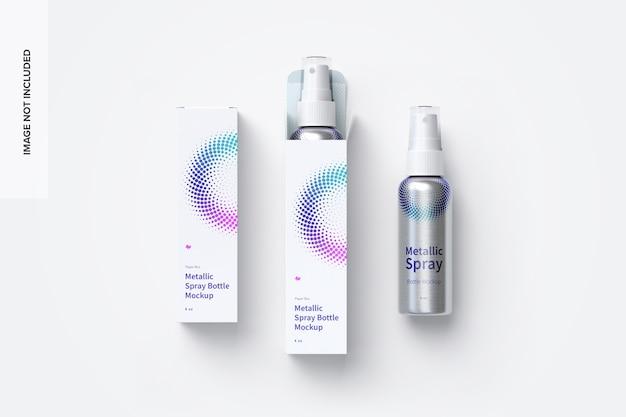 Maquete de garrafas de spray metálico de 4 oz com caixas de papel