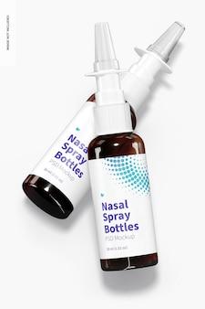 Maquete de garrafas de spray nasal de vidro