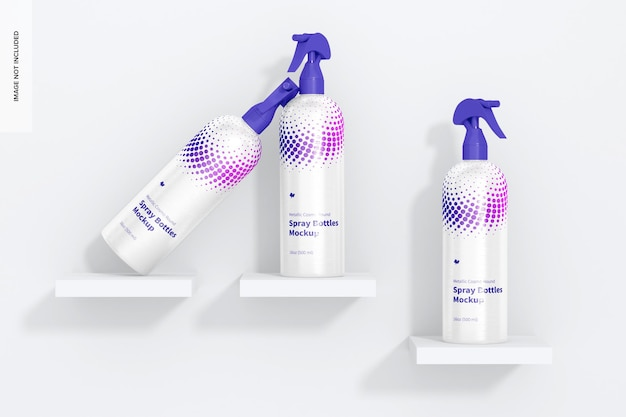 Maquete de garrafas de spray redondo metálico cosmo de 16 onças, vista frontal