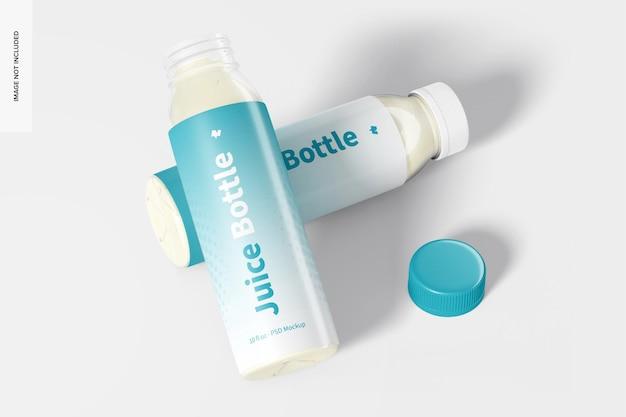 Maquete de garrafas de suco pet claras de 10 onças, abertas e fechadas