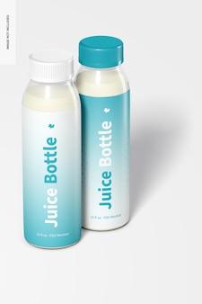 Maquete de garrafas de suco pet transparentes de 10 onças, fechadas