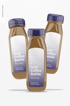 Maquete de garrafas de vidro de café gelado