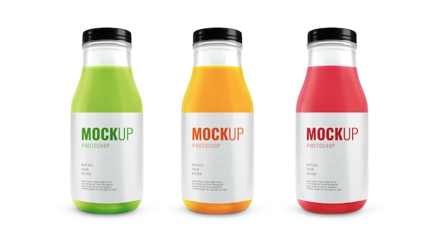 Maquete de garrafas de vidro de suco de frutas