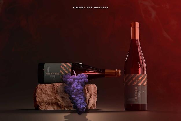 Maquete de garrafas de vinho