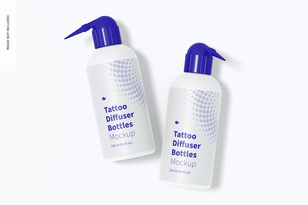 Maquete de garrafas difusoras de tatuagem, vista superior
