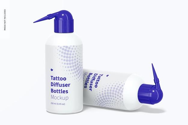 Maquete de garrafas difusoras de tatuagem