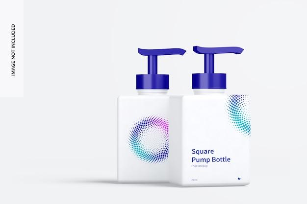 Maquete de garrafas quadradas de 250 ml