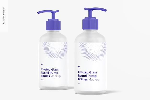 Maquete de garrafas redondas de bomba de vidro fosco de 8 onças, vista frontal