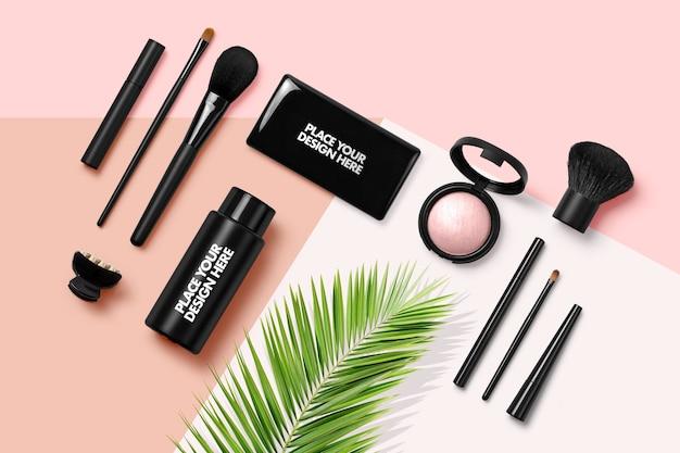 Maquete de gerador de cena de vista superior de produtos cosméticos
