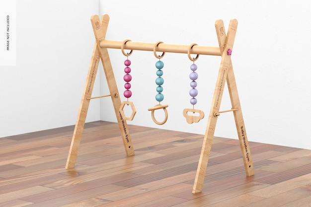 Maquete de ginástica de madeira para bebês, vista direita