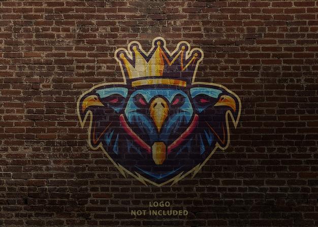 Maquete de graffiti fotorrealista logotipo mascote