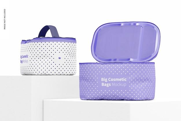 Maquete de grandes bolsas cosméticas