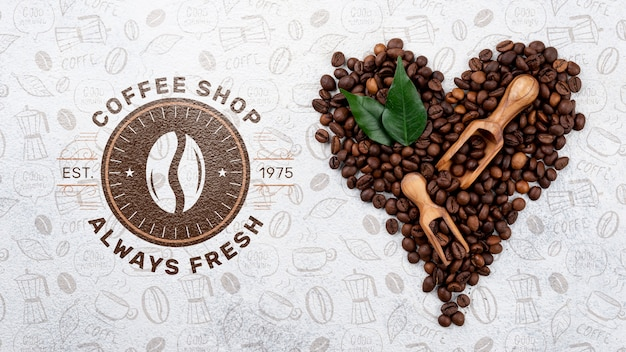Maquete de grãos de café de vista superior