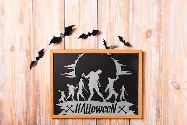 Maquete de halloween com conceito de ardósia