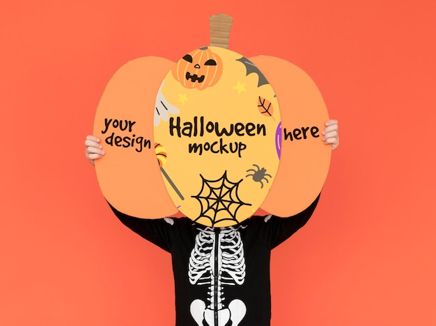 Maquete de halloween de vista superior com desenho