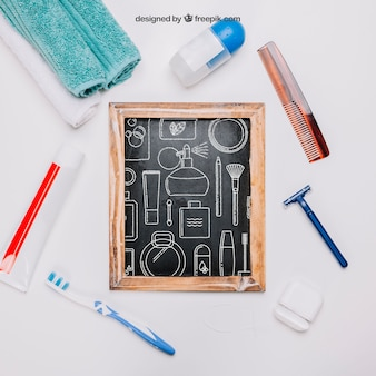 Maquete de higiene com ardósia