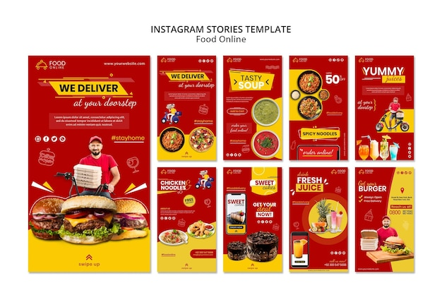 Maquete de histórias de instagram de conceito online de comida
