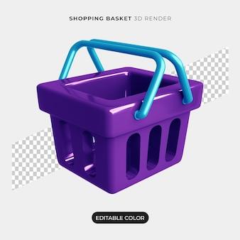 Maquete de ícone de carrinho de compras 3d isolada