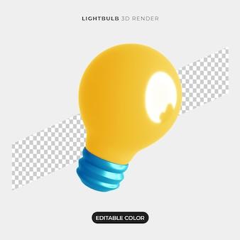 Maquete de ícone de lâmpada 3d isolada