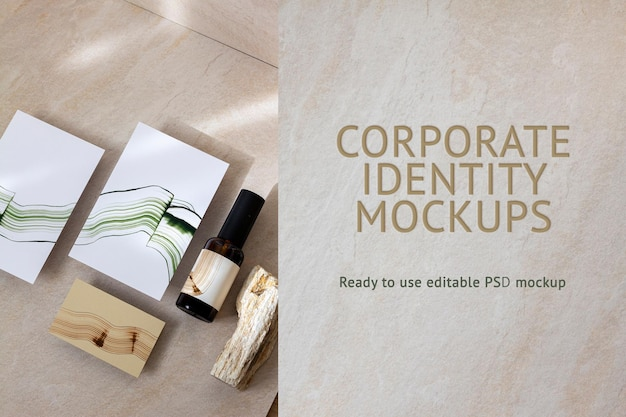 Maquete de identidade corporativa abstrata psd para embalagens de produtos de beleza