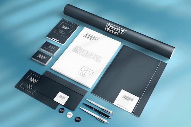 Maquete de identidade corporativa da marca com 10 elementos de papelaria