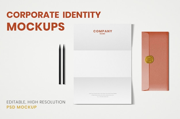 Maquete de identidade corporativa, papelaria estética, imagem realística de psd