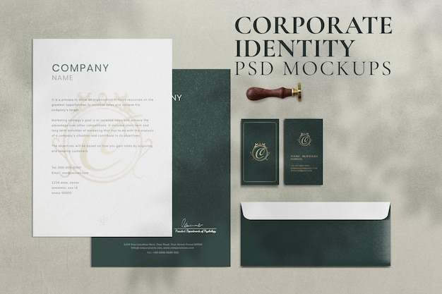 Maquete de identidade corporativa vintage conjunto de papelaria de marca psd