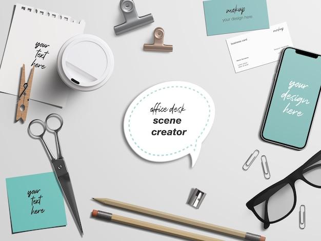 Maquete de identidade da marca para mesa de escritório e papelaria