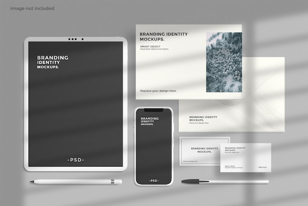 Maquete de identidade de marca com dispositivos