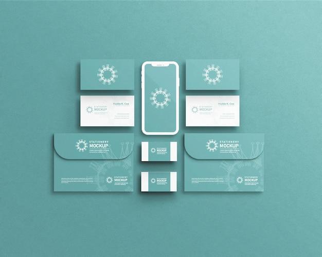 Maquete de identidade de marca corporativa com efeito de impressão pressionado