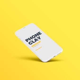 Maquete de inclinação do dispositivo de telefone de argila