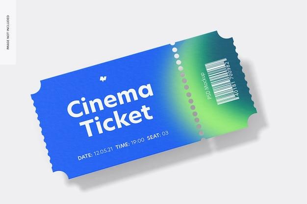 Maquete de ingresso de cinema, vista frontal