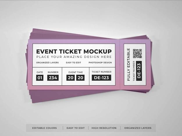Maquete de ingresso de evento realista