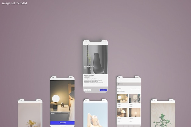 Maquete de interface na tela do telefone