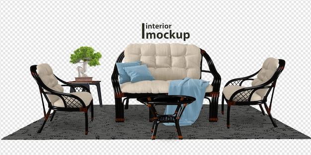 Maquete de interior 3d com renderização isolada