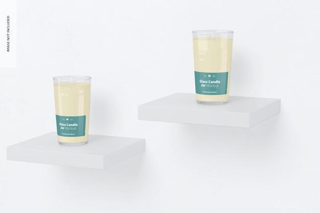 Maquete de jarras de vela de vidro, perspectiva