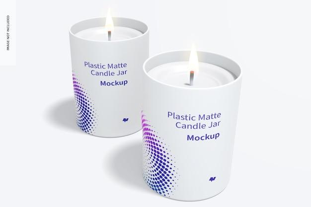 Maquete de jarros de vela de plástico fosco, vista frontal