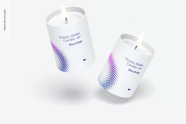 Maquete de jarros de velas de plástico fosco, caindo