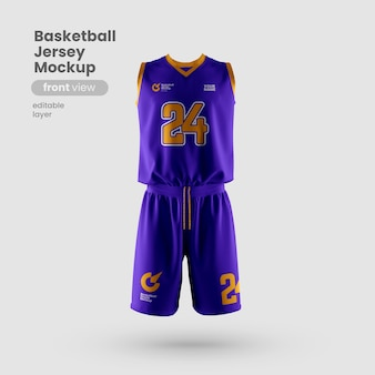 Maquete de jersey para a vista frontal do clube de basquete