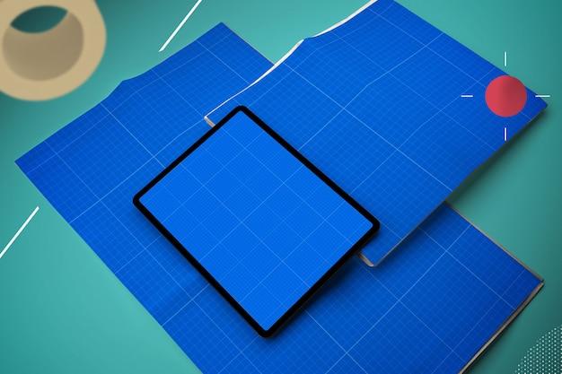 Maquete de jornal e tablet abstrata