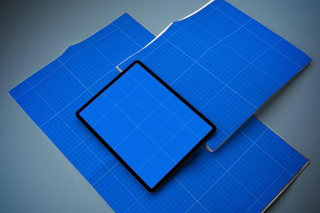 Maquete de jornal e tablet