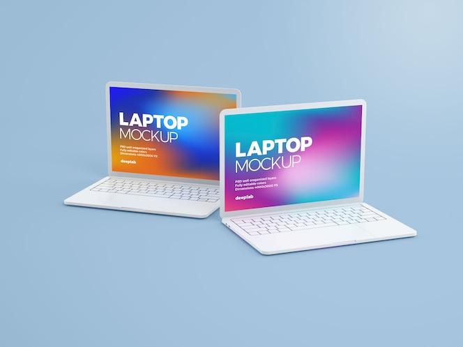 Maquete de laptop com cor de fundo editável