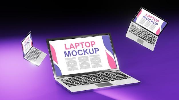 Maquete de laptop com renderização em 3d