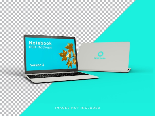 Maquete de laptop com vista frontal realista com logotipo isolado