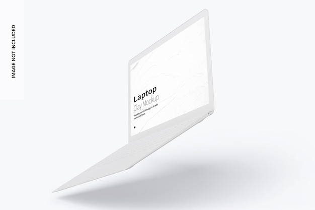 Maquete de laptop de argila flutuante vista direita