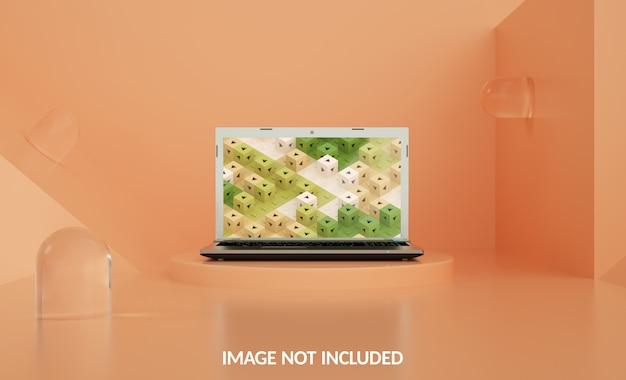Maquete de laptop de cápsula de vidro