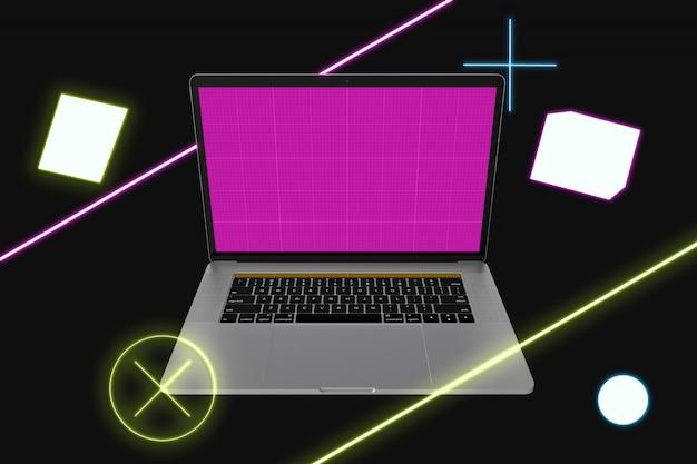 Maquete de laptop de néon