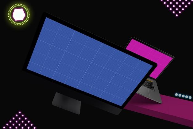 Maquete de laptop e computador de néon