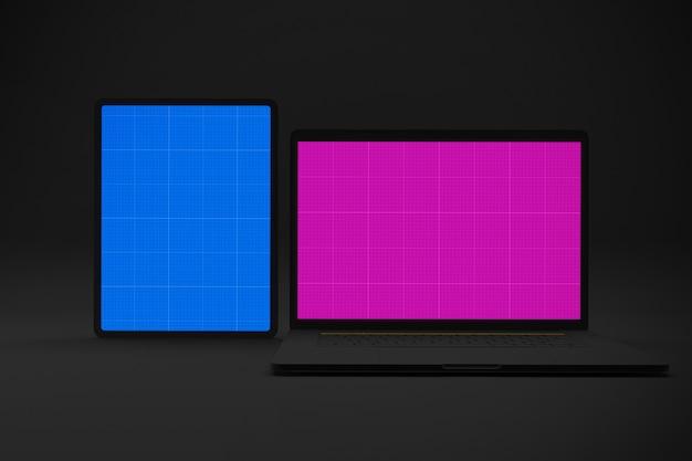 Maquete de laptop e tablet escura