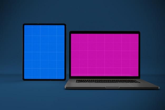 Maquete de laptop e tablet